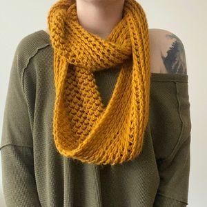 Mustard Knit Infinity Scarf